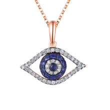 Load image into Gallery viewer, Diamond Blue Evil Eye Necklace