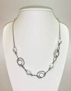 Mother of Pearl Cubic Zirconia Sterling Silver Necklace