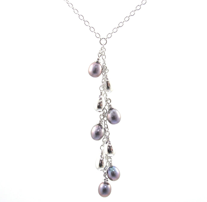 Dangling Mother of Pearl Sterling Silver Necklace