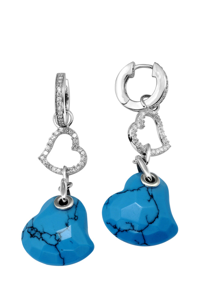 Dangling Turquoise Heart Shaped Cubic Zirconia Sterling Silver Earrings