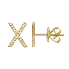 Load image into Gallery viewer, Diamond X Stud Earrings