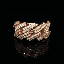 Load image into Gallery viewer, 10K Signature Collection Rose Gold Cuban Link Prong Set Ring 1.40ct Of VS Diamonds