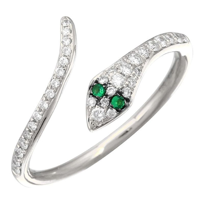 Diamond & Emerald Snake Ring