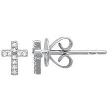 Load image into Gallery viewer, Diamond Mini Cross Stud Earrings