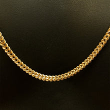 Load image into Gallery viewer, 10kt Yellow Gold Diamond Cut Franco Link Chain 3.5 mm 28 Inches