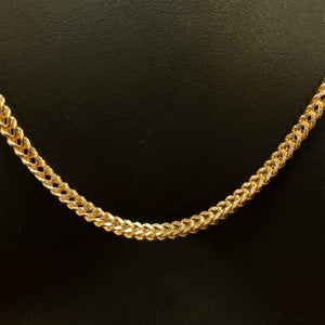 10kt Yellow Gold Diamond Cut Franco Link Chain 3.5 mm 28 Inches