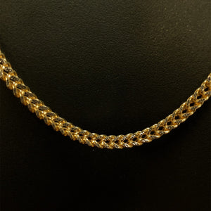 10kt Yellow Gold Diamond Cut Franco Link Chain 3.5 mm 26 Inches