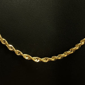 10kt Yellow Gold Rope Link Chain 4.0 mm 26 Inches