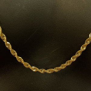 10kt Yellow Gold Rope Link Chain 4 mm 30 Inches