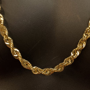 10kt Yellow Gold Rope Link Chain 7 mm 30 Inches