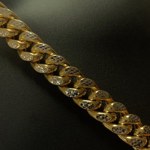 10kt Yellow Gold Diamond Cut Miami Cuban Link Chain 15mm 28 Inches