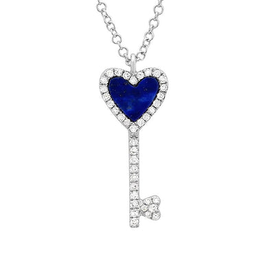 Diamond Heart Key Necklace