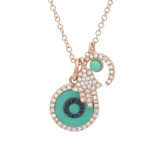 Hamsa, Horseshoe and Evil Eye Charm Necklace