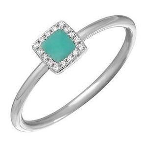 Diamond  Halo Ring centered with a squared Turquoise stone