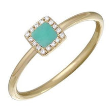 Load image into Gallery viewer, Diamond  Halo Ring centered with a squared Turquoise stone