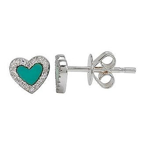 Diamond Halo Turquoise Heart Earrings