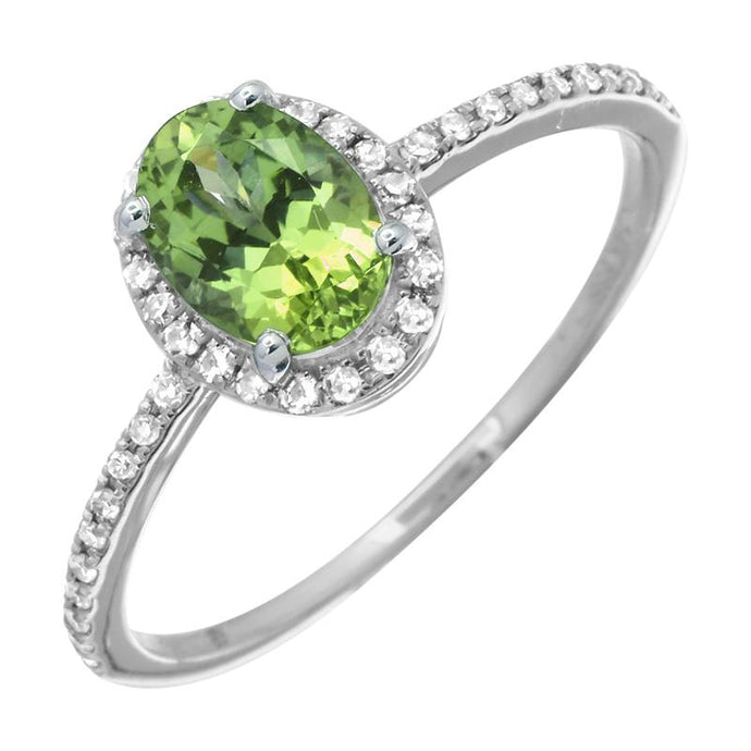 Peridot Oval Shape Diamond Halo Ring