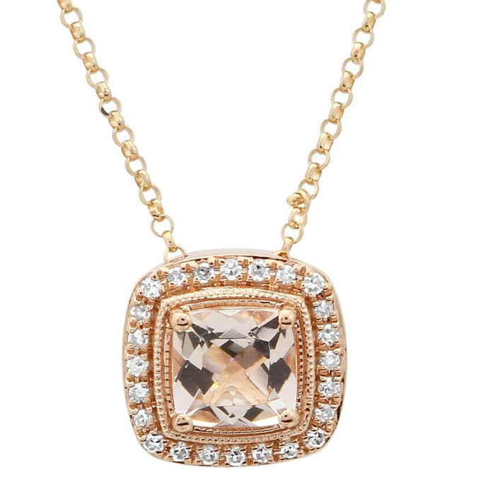 Morganite Cushion Shape Diamond Halo Necklace