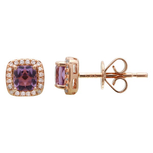 Cushion-cut Amethyst Diamond Halo Stud Earrings
