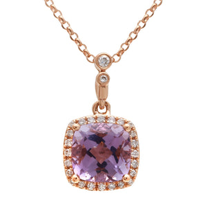 Cushion-cut Amethyst Diamond Halo Necklace