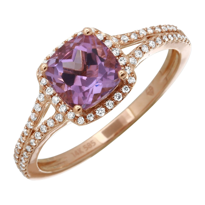 Cushion-cut Amethyst Diamond Halo Ring