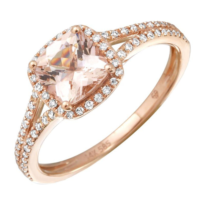 This Cushion Shape Morganite Diamond Halo Ring