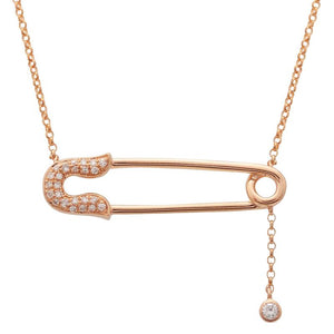 Diamond Baby Safety Pin Necklace