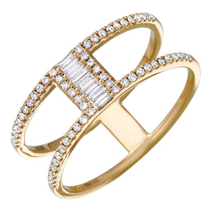 Diamond 2 Row Split Ring
