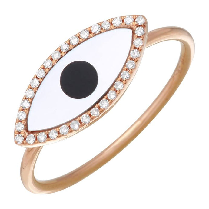 Evil Eye Mother of Pearl Ring
