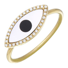 Load image into Gallery viewer, Evil Eye Mother of Pearl Ring
