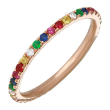 Load image into Gallery viewer, Diamond Rainbow Full Eternity Multi Sapphire Ring