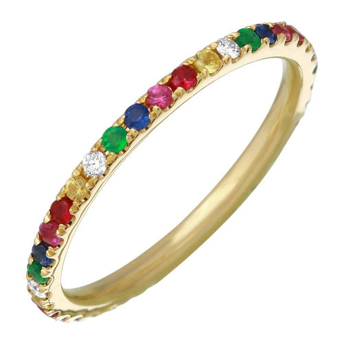 Diamond Rainbow Full Eternity Multi Sapphire Ring