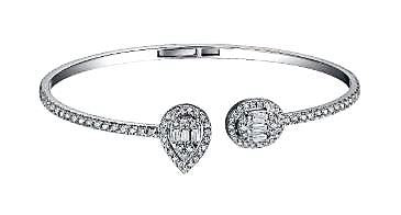 Diamond Baguette Pear and Oval Bangle