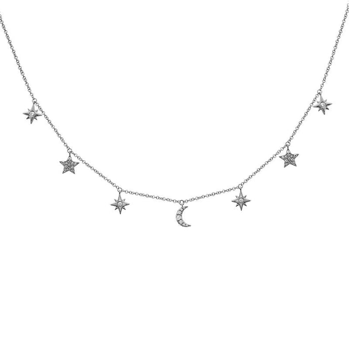 Diamond Dangling Moon & Stars Charmed Necklace
