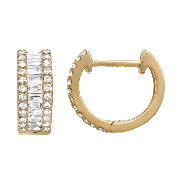 Channel Set Hoop Earring Set with Baguette-cut and Round Brilliant Diamonds