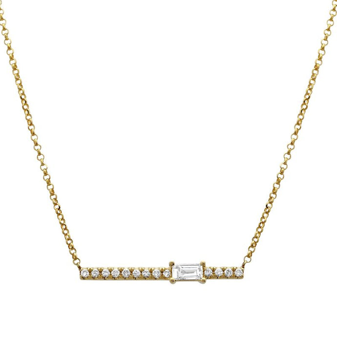 Diamond Baguette-cut Side Bar Necklace