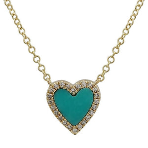 Diamond & Turquoise Heart Necklace