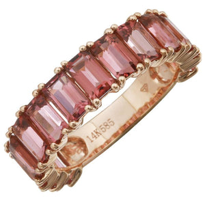 Pink Tourmaline Emerald Cut 3/4 Eternity Ring