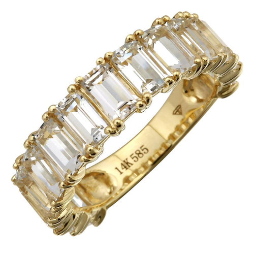 White Topaz Emerald Cut 3/4 Eternity & Full Eternity Ring
