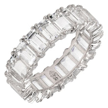 Load image into Gallery viewer, White Topaz Emerald Cut 3/4 Eternity & Full Eternity Ring