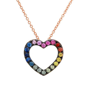 Black Rhodium Multicolor Sapphire Heart Necklace