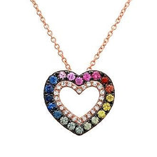Load image into Gallery viewer, Black Rhodium Multicolor Sapphire Diamond Heart Necklace