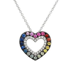 Black Rhodium Multicolor Sapphire Diamond Heart Necklace