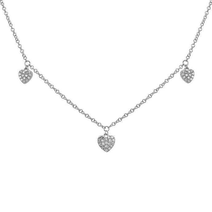 Diamond Dangling Hearts Necklace