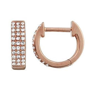 Diamond 3 Row Huggie Hoop Earrings