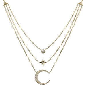 Diamond Moon & Star Triple Layered Necklace