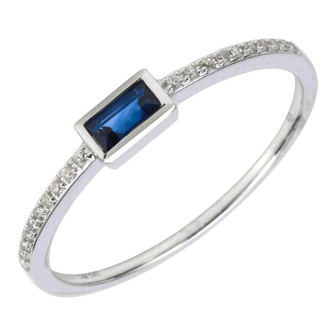 Baguette-cut Centered Sapphire Diamond Semi Eternity Ring