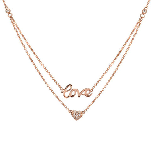 Diamond Heart & Love Double Layered Necklace