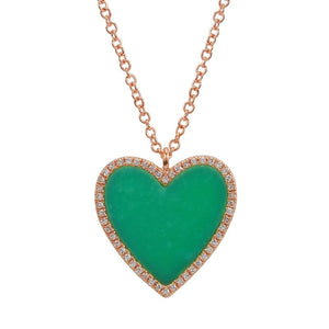 Diamond Single Turquoise Heart Necklace