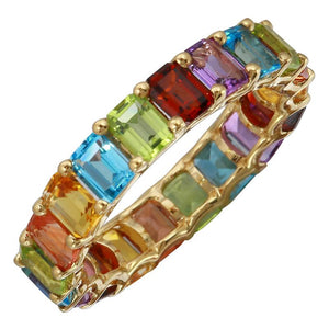 Rainbow Emerald Cut Multi Colored Gemstone 4mm Full Eternity Ring